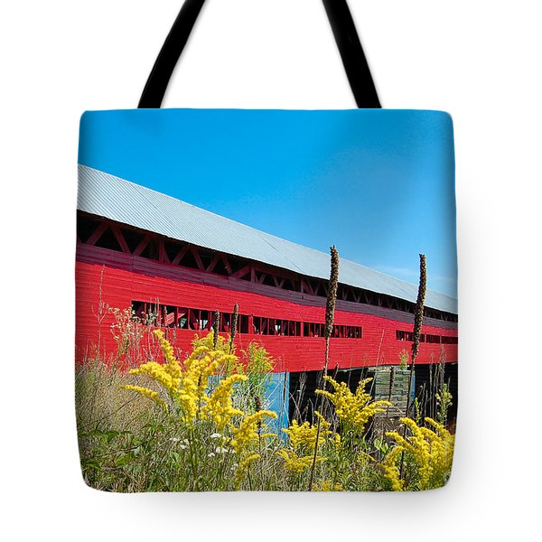 Tote Bag featuring the photograph Pont Marchand by Bianca Nadeau