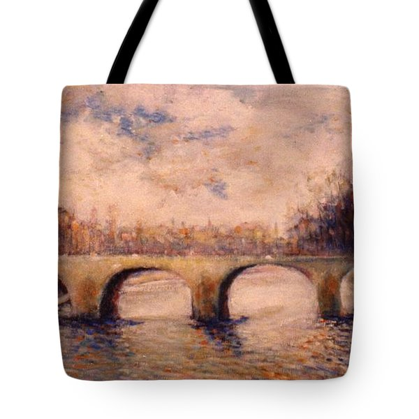 Tote Bag featuring the painting Pont Sur La Seine by Walter Casaravilla
