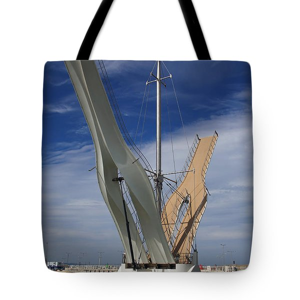 Tote Bag featuring the photograph Pont Y Ddraig Bridge.  by Christopher Rowlands