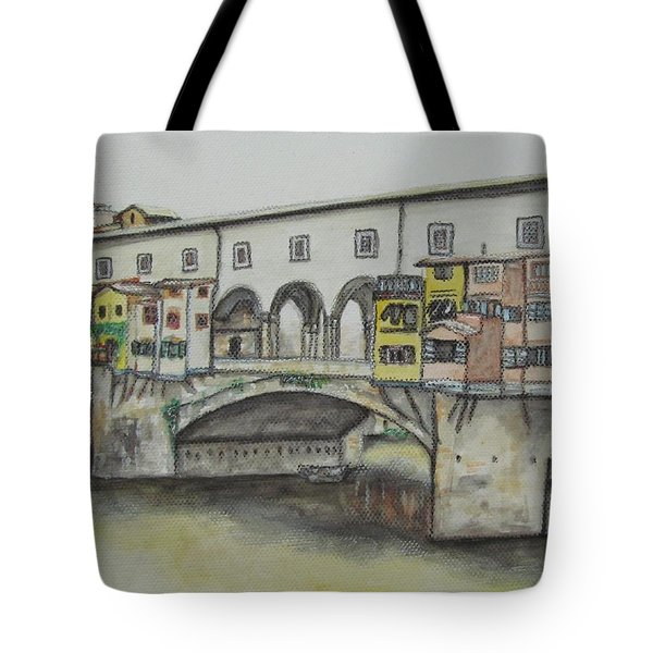 Ponte Vecchio Florence Italy Tote Bag by Malinda  Prudhomme