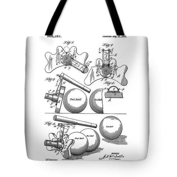 Pool Bridge Billiards Patent Tote Bag