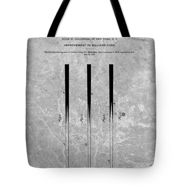 Pool Cue Patent Charcoal Tote Bag