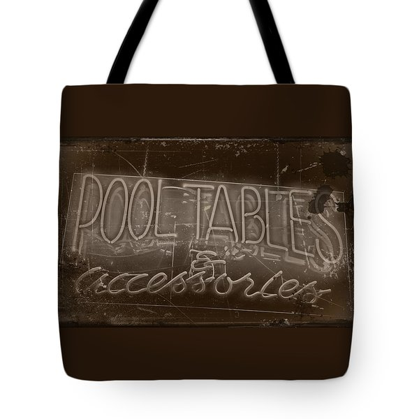 Pool Tables And Accessories - Vintage Neon Sign Tote Bag by Steven Milner