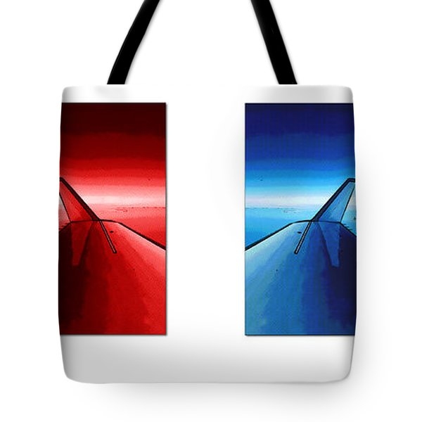 Tote Bag featuring the photograph Red Blue Jet Pop Art Planes  by R Muirhead Art