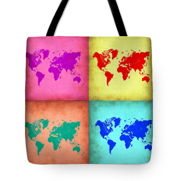 Pop Art World Map 1 Tote Bag by Naxart Studio