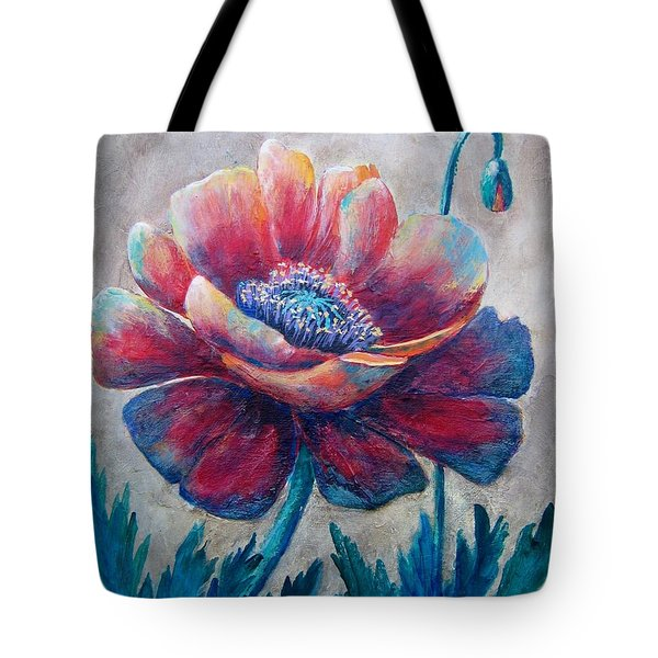 Tote Bag featuring the painting Pop-pop-poppy by Suzanne Theis