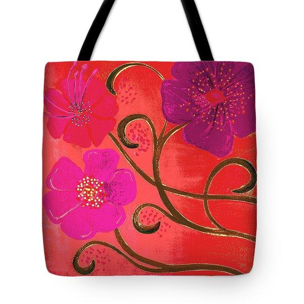 Pop Spring Purple Flowers Tote Bag by Linda Bailey