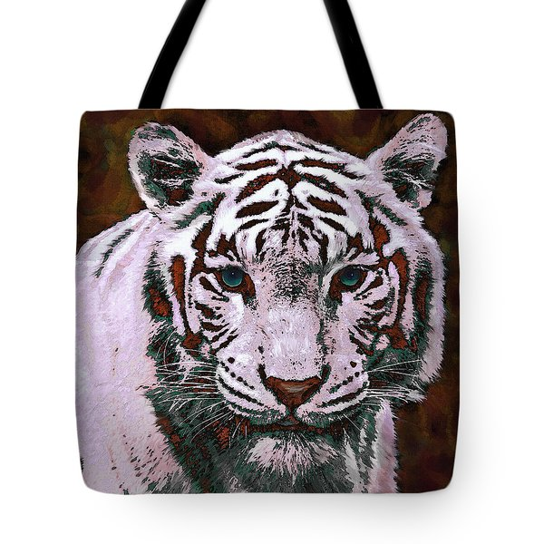 Popart White Tiger- Larger Tote Bag by Jane Schnetlage