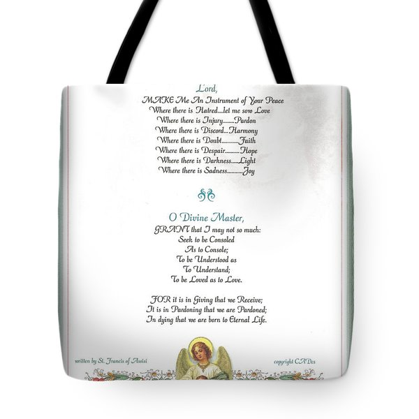 Pope Francis St. Francis Simple Prayer Florentine Angel Tote Bag by Desiderata Gallery