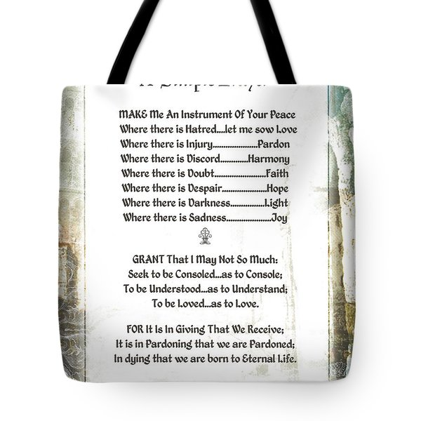 Pope Francis St. Francis Simple Prayer For Peace Tote Bag by Desiderata Gallery