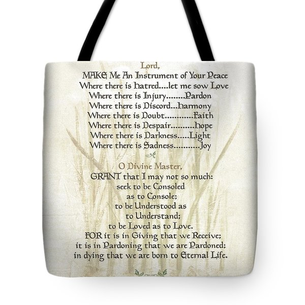 Pope Francis St. Francis Simple Prayer Lilly Of The Valley Tote Bag by Desiderata Gallery