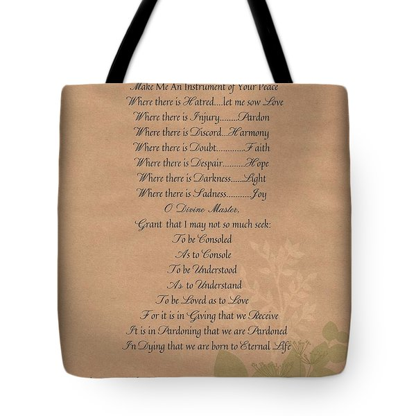 Pope Francis St. Francis Simple Prayer Organic Peace Leaves Tote Bag by Desiderata Gallery