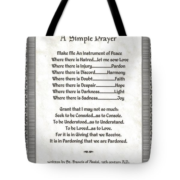Pope Francis St. Francis Simple Prayer Peace On Parchment Tote Bag by Desiderata Gallery