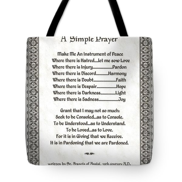 Pope Francis St. Francis Simple Prayer Pray For Peace On Parchment Tote Bag by Desiderata Gallery