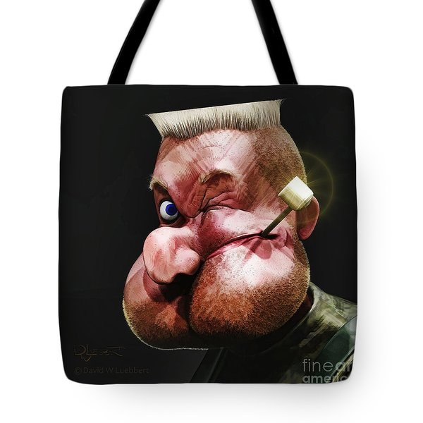 Tote Bag featuring the painting Popeye Portrait by Dave Luebbert