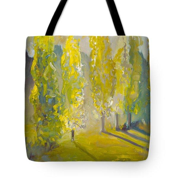 Poplars In The Morning Tote Bag