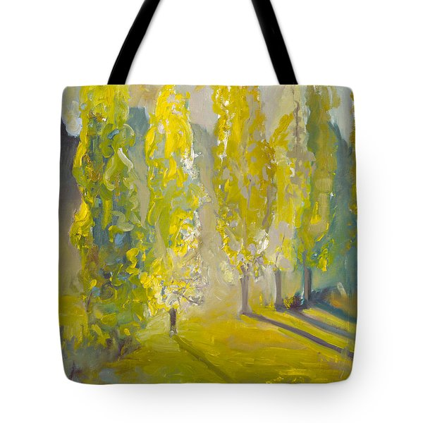 Poplars In The Morning Tote Bag