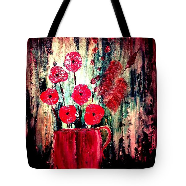 Tote Bag featuring the painting Poppie Mix by Denise Tomasura