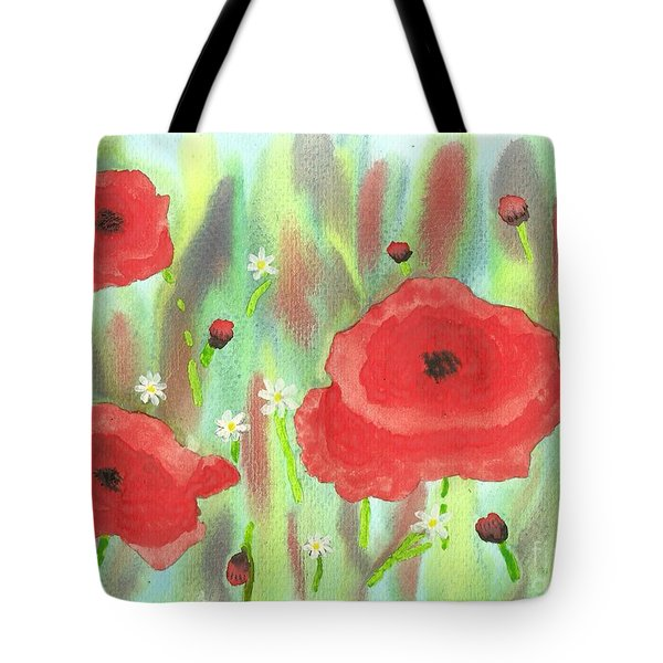 Poppies And Daisies Tote Bag by John Williams