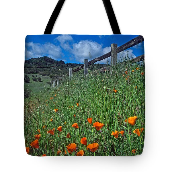 Poppies And The Fence Tote Bag by Kathy Yates