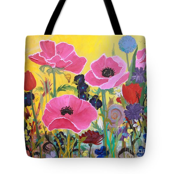Poppies And Time Traveler Tote Bag by Robin Maria Pedrero
