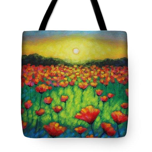 Poppies At Twilight Tote Bag by John  Nolan