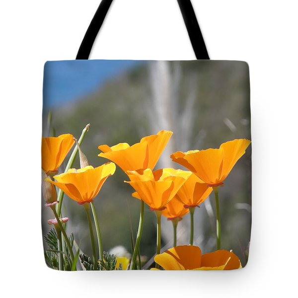 Tote Bag featuring the photograph Poppies by Bev Conover