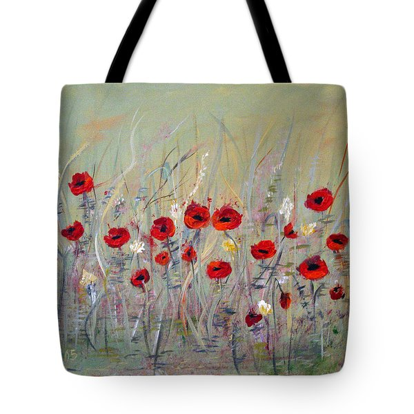 Tote Bag featuring the painting Poppies by Dorothy Maier