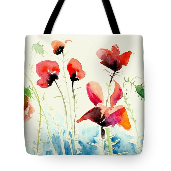 Poppies Field Poppy Watercolor Tote Bag