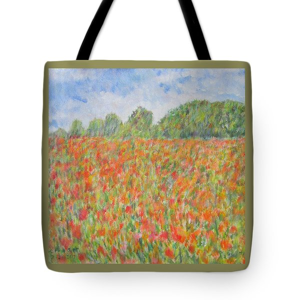 Poppies In A Field In Afghanistan Tote Bag