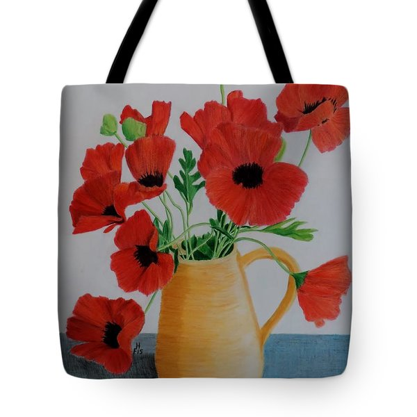 Poppies In Jug Tote Bag