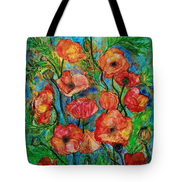 Poppies In Storm Tote Bag