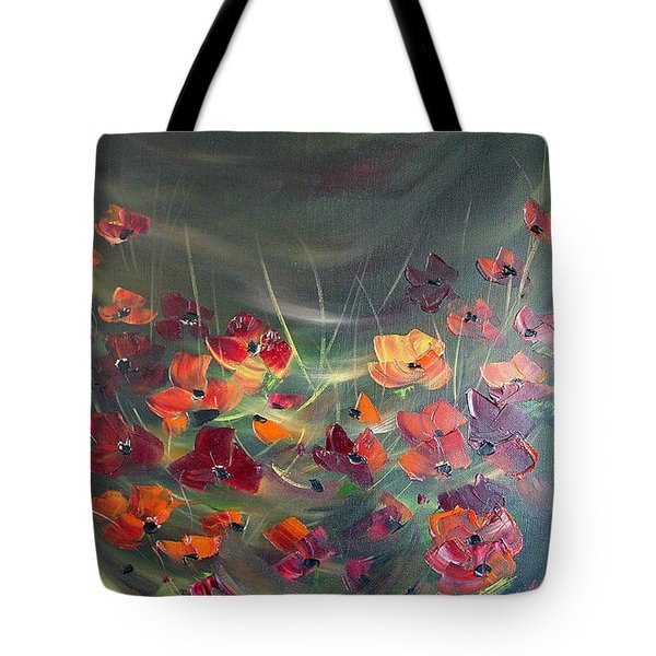 Tote Bag featuring the painting Poppies In The Shadow by Dorothy Maier