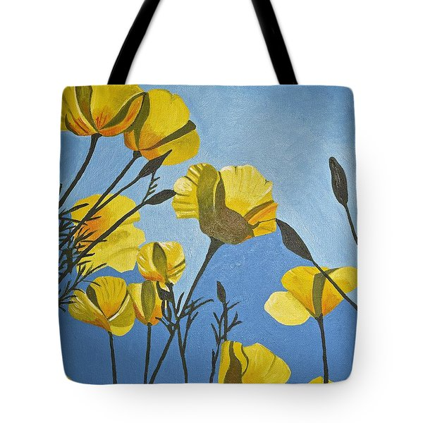 Tote Bag featuring the painting Poppies In The Sun by Donna Blossom