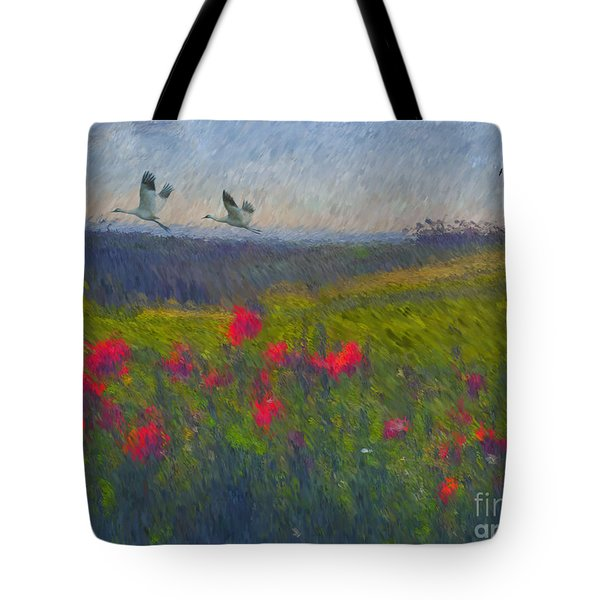 Tote Bag featuring the digital art Poppies Of Tuscany by Lianne Schneider