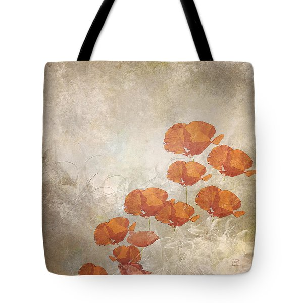 Poppies On A Foggy Morning Tote Bag