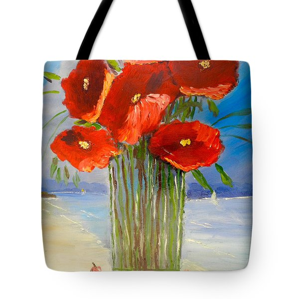 Tote Bag featuring the painting Poppies On The Window Ledge by Pamela  Meredith