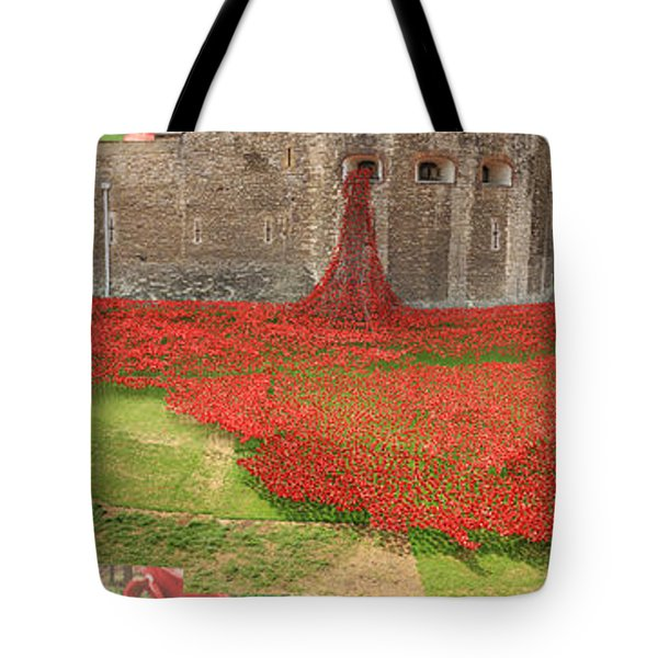 Poppies Tower Of London Collage Tote Bag