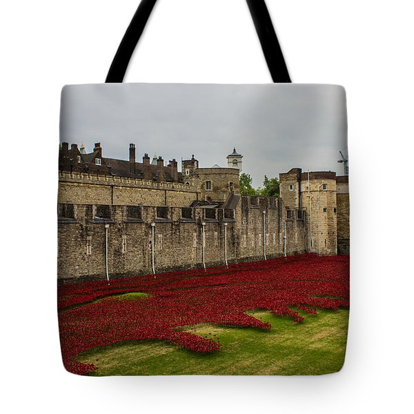 Poppies Tower Of London Tote Bag