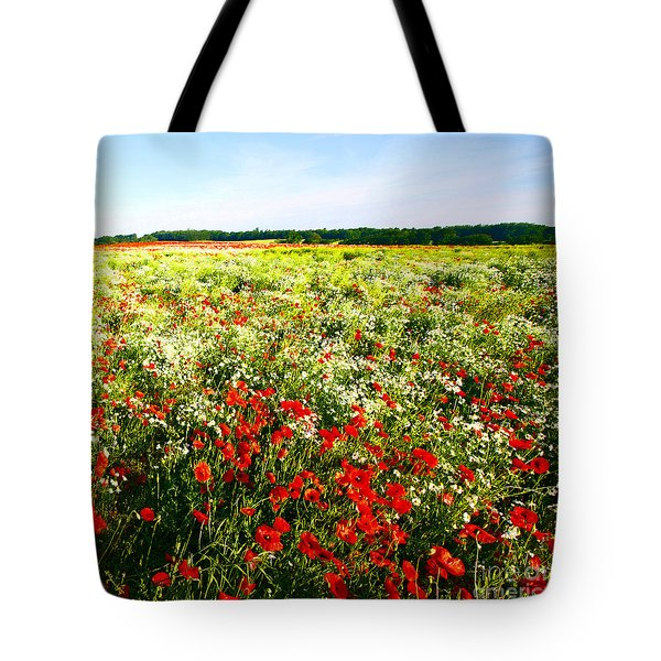 Poppy Field In Summer Tote Bag