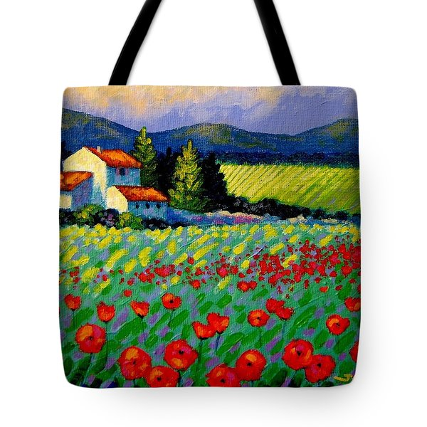 Poppy Field - Provence Tote Bag by John  Nolan