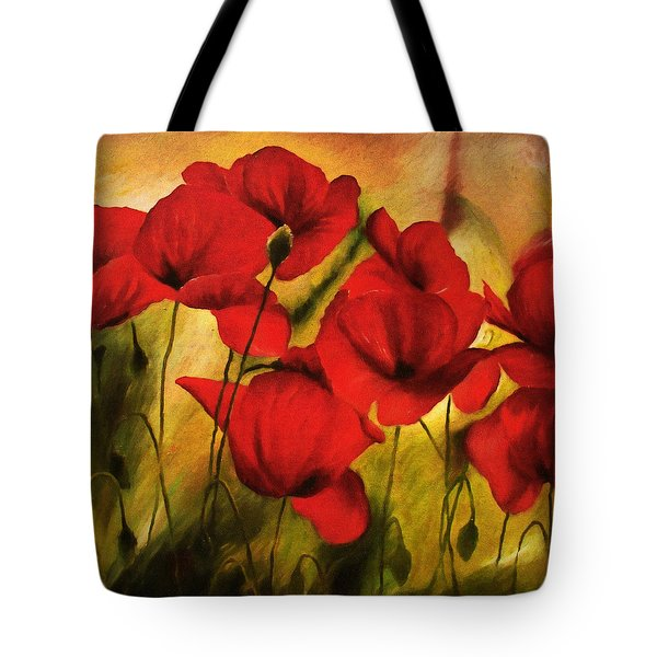 Tote Bag featuring the painting Poppy Flowers At Dusk by Isabella Howard