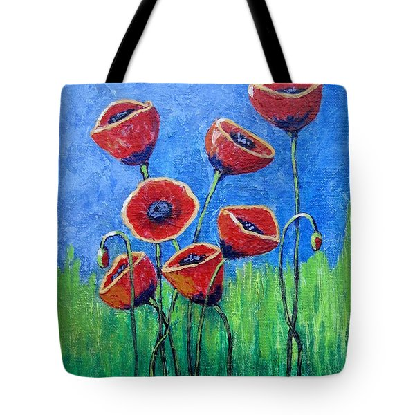 Tote Bag featuring the painting Poppy Party by Suzanne Theis