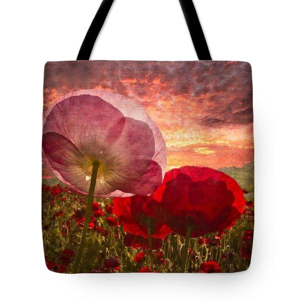 Poppy Sunrise Tote Bag by Debra and Dave Vanderlaan