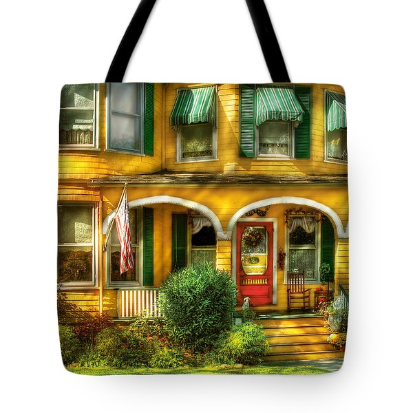 Porch - Cranford Nj - A Yellow Classic  Tote Bag by Mike Savad