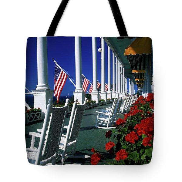 Porch Of The Grand Hotel, Mackinac Tote Bag