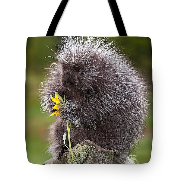 Porcupine With Arrowleaf Balsamroot Tote Bag by Jerry Fornarotto