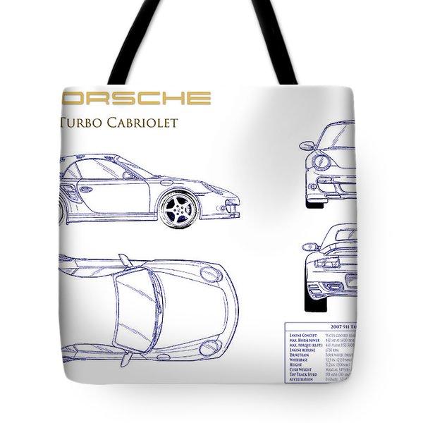 Porsche 911 Turbo Blueprint Tote Bag