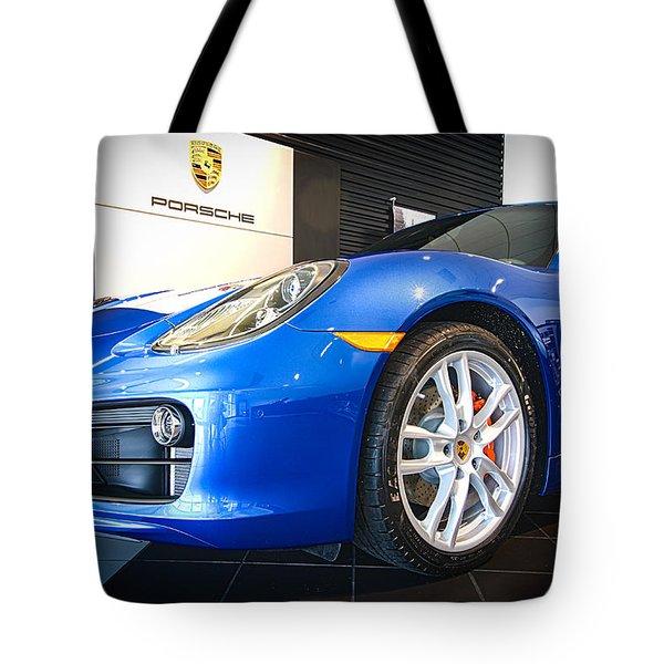 Porsche Cayman S In Sapphire Blue Tote Bag