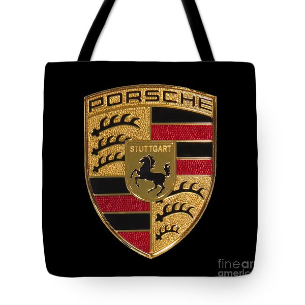 Porsche Emblem - Black Tote Bag